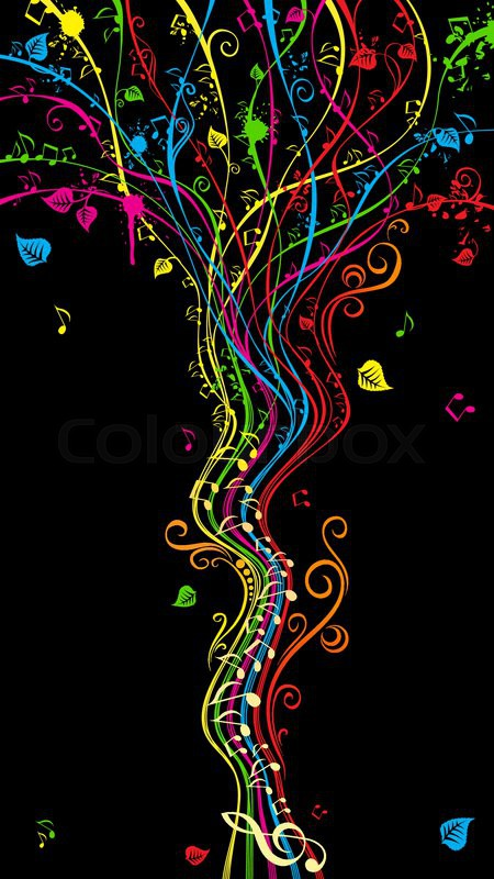 Colorful Music Notes Wallpaper
