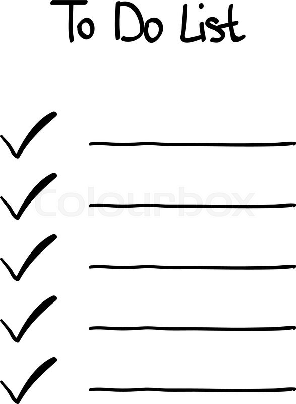 hand drawn doodle to do checklist tick no signs stock vector