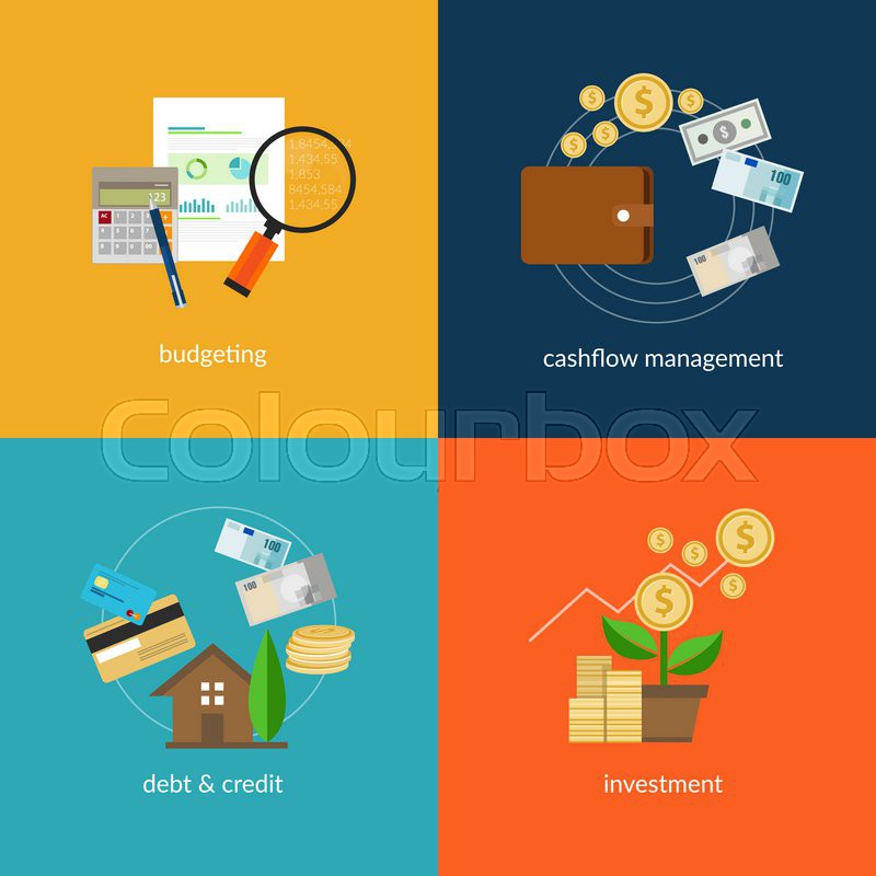 personal finance icon set such as cashflow management and spending