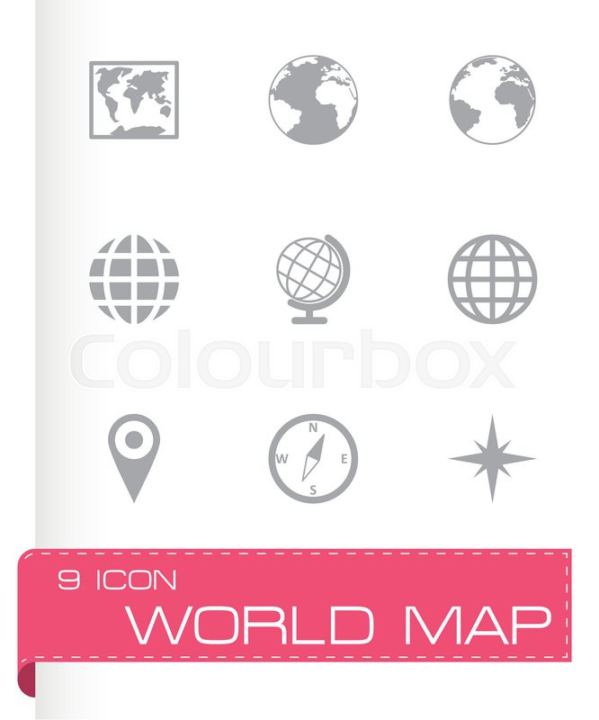 Vector world map icon set on grey background stock vector colourbox gumiabroncs Image collections