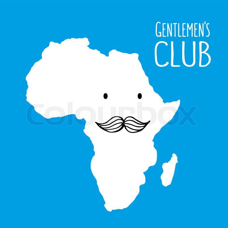 Fun Moustache Club Cartoon Africa Hand Stock Vector Colourbox
