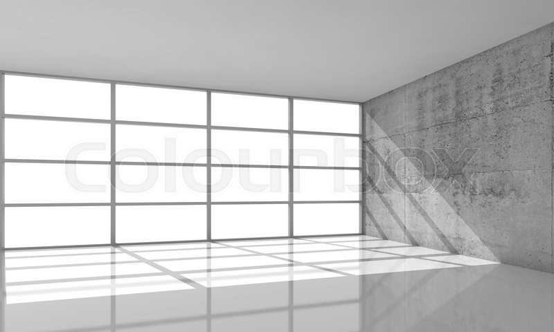 Abstract architecture background, empty concrete interior with the ...