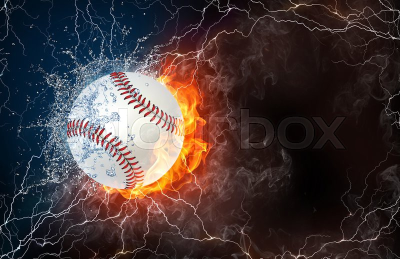 Softball Ball On Fire And Water With Stock Image Colourbox