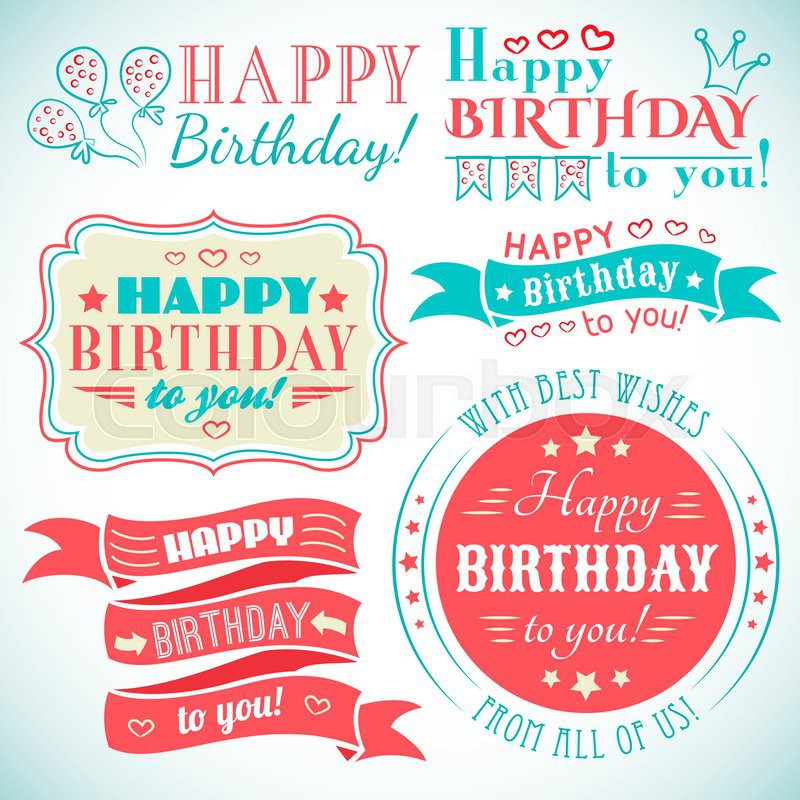 Happy birthday card Typography letters font type Greeting – Birthday Card Font