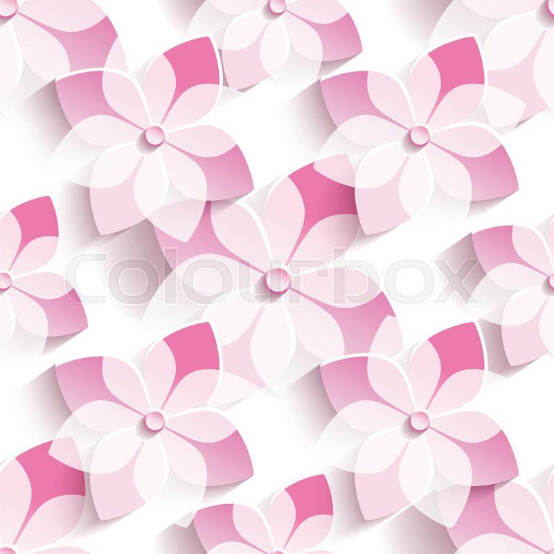 Beautiful stylish modern seamless pattern with 3d pink sakura beautiful stylish modern seamless pattern with 3d pink sakura blossom japanese cherry tree floral trendy seamless background mightylinksfo