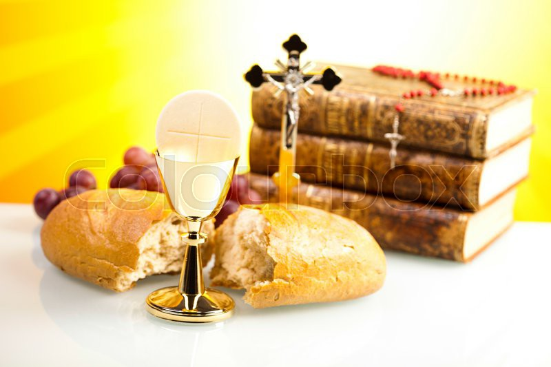 Symbol christianity religion, bright background, saturated concept, stock photo