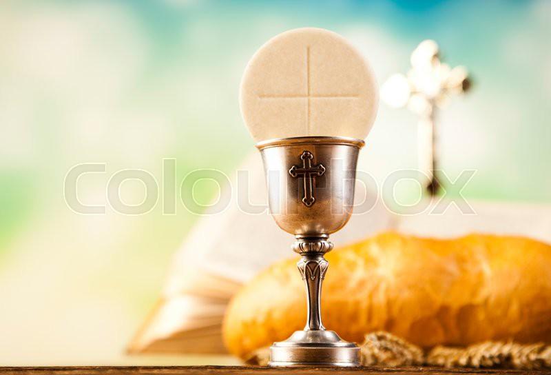Holy Communion Bread Wine Bright Stock Photo Colourbox