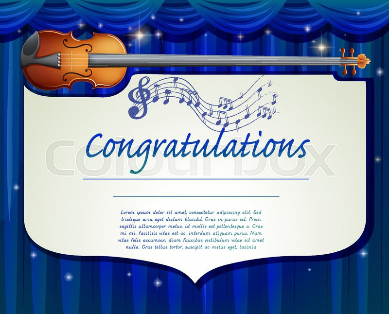 Certificate Template Design With Music Background Stock Vector