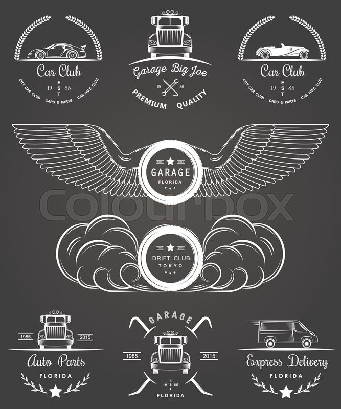 Set of vintage car club, drift club, auto parts and garage labels ...