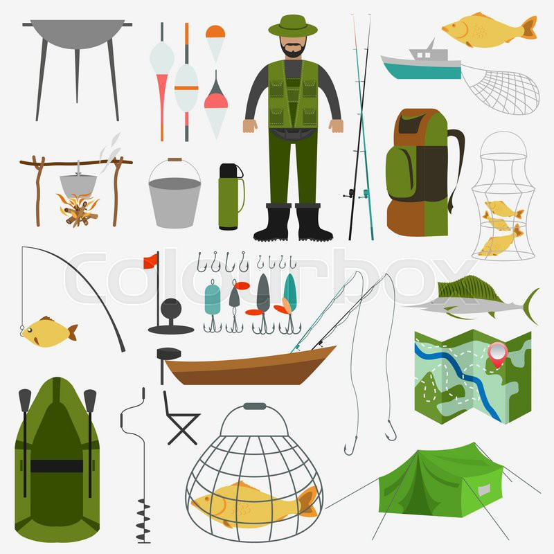 Fishing infographic elements, fishing benefits and destructive fishing. Set elements for creating your own infographic design. Vector illustration, vector