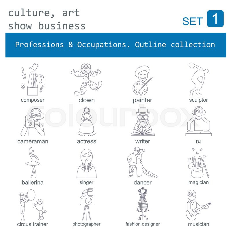 Professions and occupations outline icon set. Culture, art, show business. Flat linear design. Vector illustration, vector