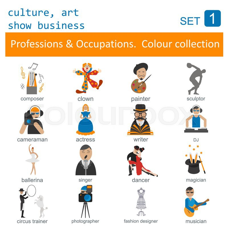 Professions and occupations outline icon set. Culture, art, show business. Coloured version. Vector illustration, vector