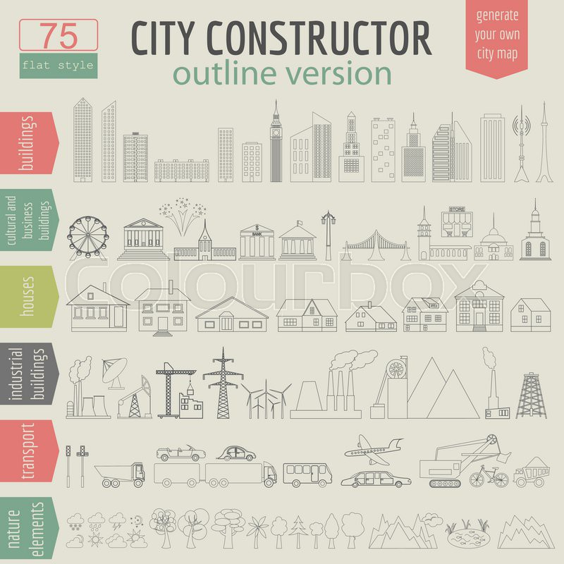 City map generator  Elements for       Stock vector   Colourbox