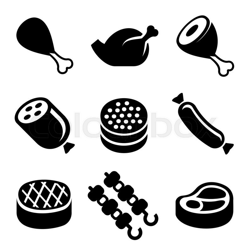 Meat Icons Set On White Background Vector Stock Vector