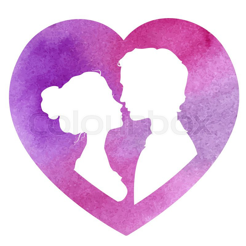 Profile silhouettes of man and woman in a heart-shaped frame. Loving ...