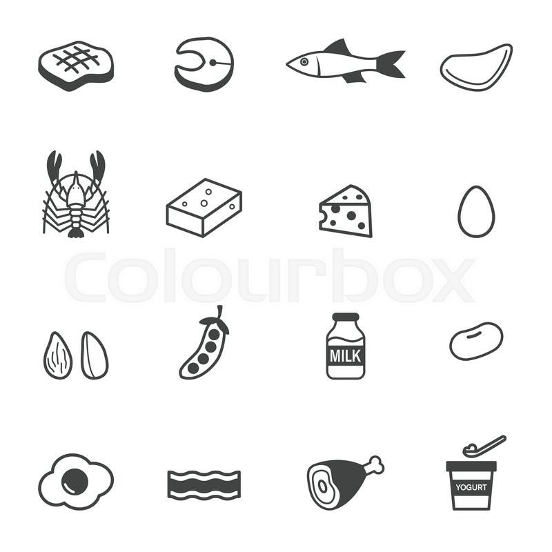 Protein Food Icons Mono Vector Symbols Stock Vector Colourbox