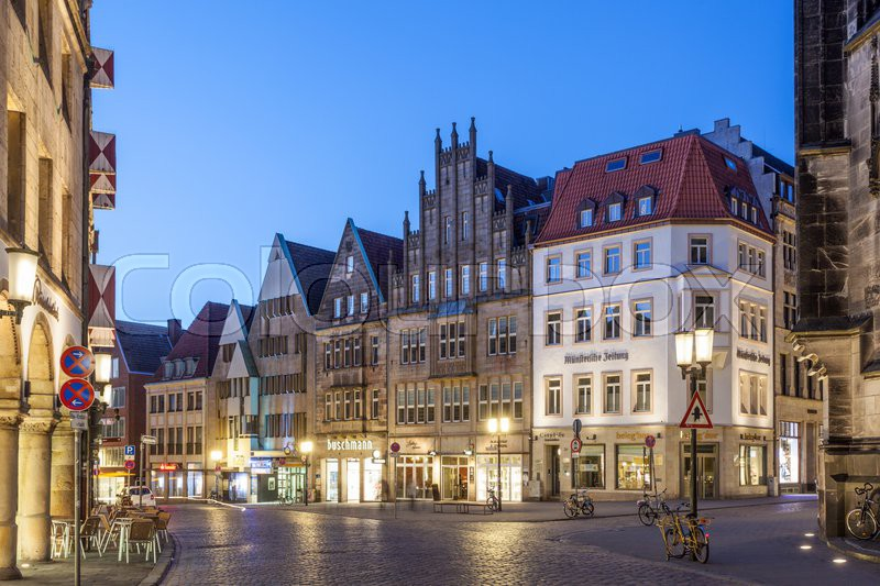 munster germany apr 4 gabled houses on the prinzipalmarkt in the old town of muenster april. Black Bedroom Furniture Sets. Home Design Ideas