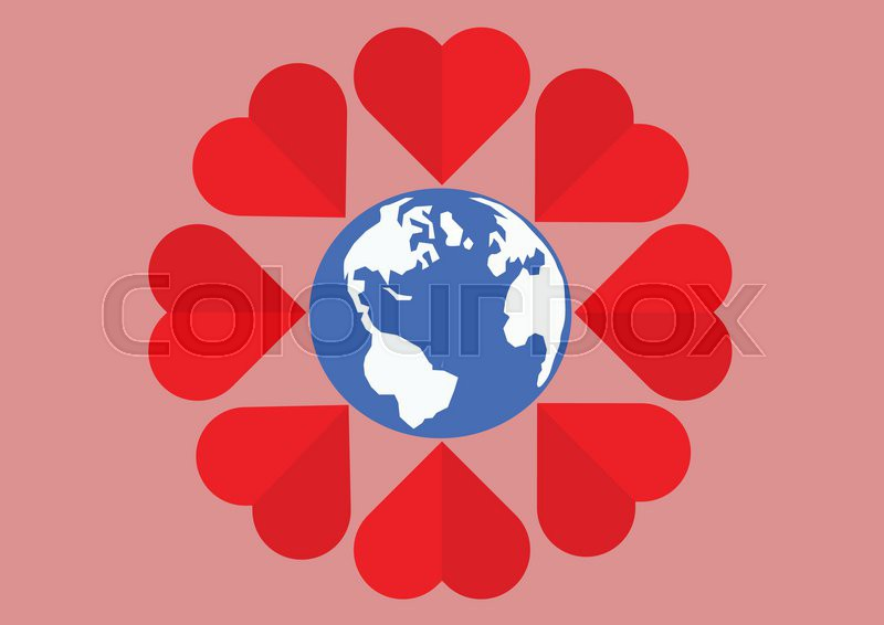 Red Heart Around The World Mean Of Love All Peoplector