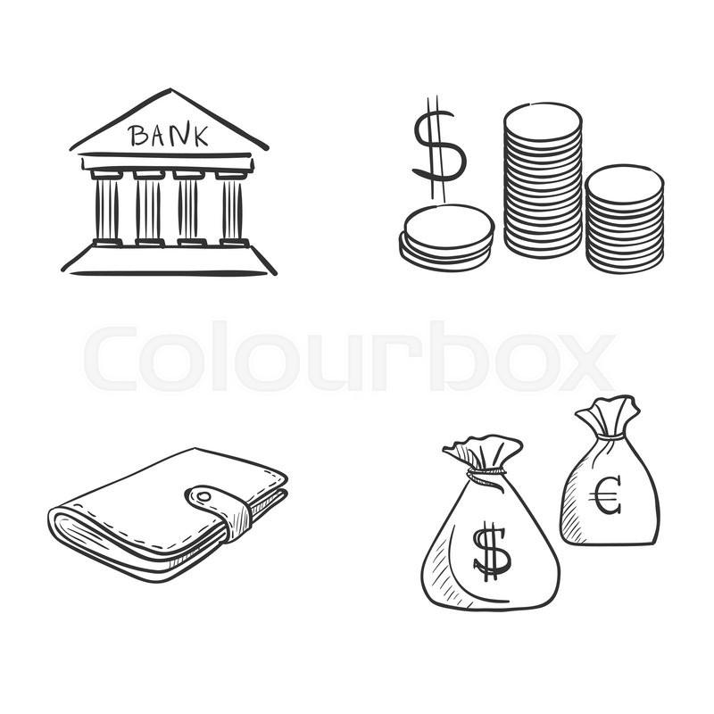 hand draw doodle bank coin money cash wallet  excellent vector illustration  eps 10