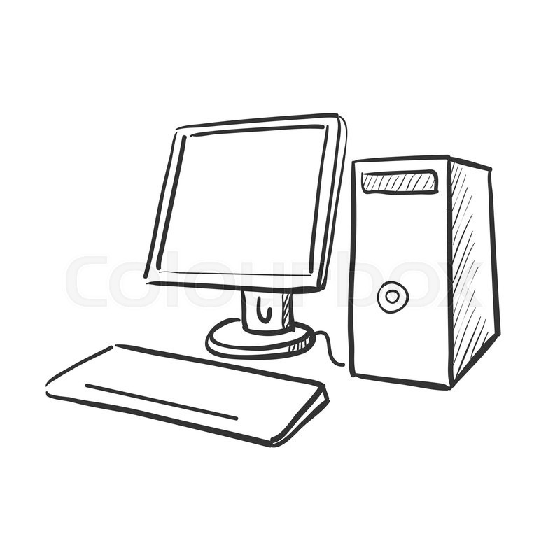 Hand Draw Doodle Computer Excellent Stock Vector Colourbox