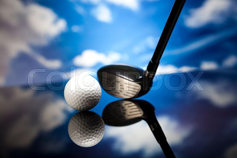 Golf equipment, vivid colorful theme, stock photo