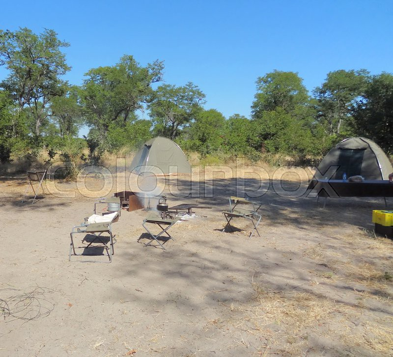 Safari camp at the Moremi Game reserve in Botswana, Africa, stock photo