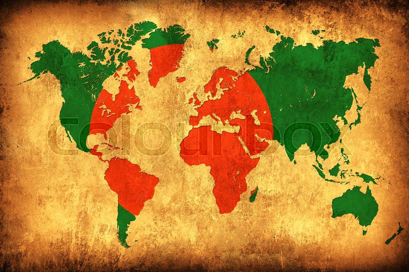 The Flag Of Bangladesh In The Outline Of The World Map Stock Photo