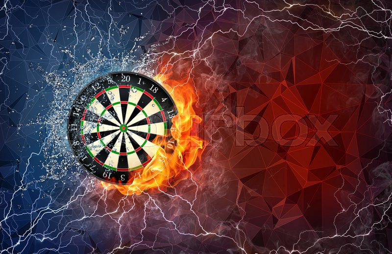 dart board on fire and water with lightening around on