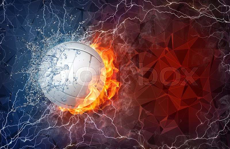 Abstract Grungy Background With Volleyball Arrowhead: Volleyball Ball On Fire And Water With Lightening Around