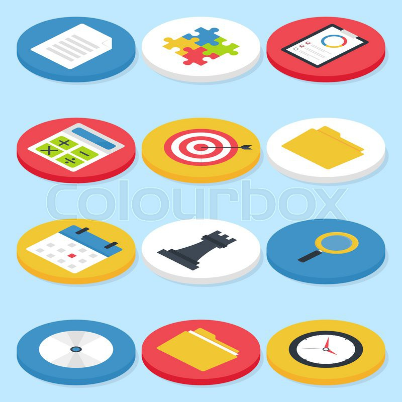 flat business isometric circle icons set vector business concepts and office life icons set vector business concepts business life office