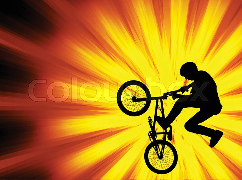 Bmx bicyclist on the abstract background - vector, vector