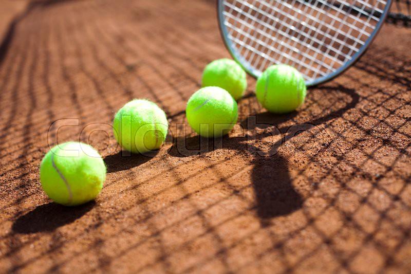 Sport, Tennis racket and balls, stock photo