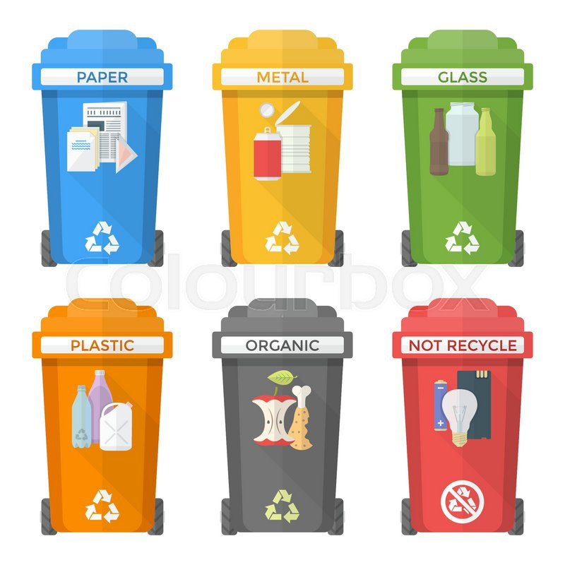 Waste Management In Beaumont Mail: Vector Colorful Flat Design Separated Recycle Waste Bins
