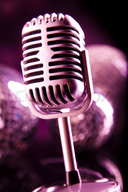 Retro style microphone, Music background, music saturated concept, stock photo