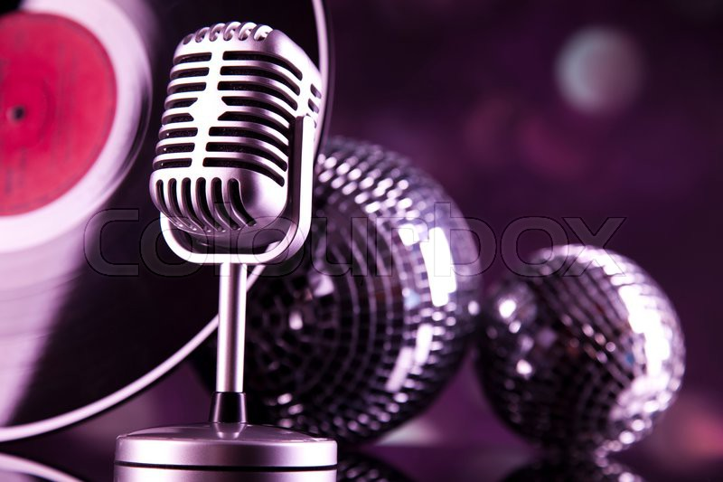 Music microphone, music saturated concept, stock photo