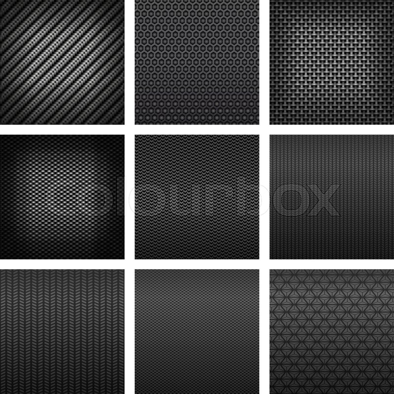 Carbon and fiber seamless patterns with dark gray fabric textures carbon and fiber seamless patterns with dark gray fabric textures different types of weave on white background suited for luxury backdrop or modern urmus Gallery