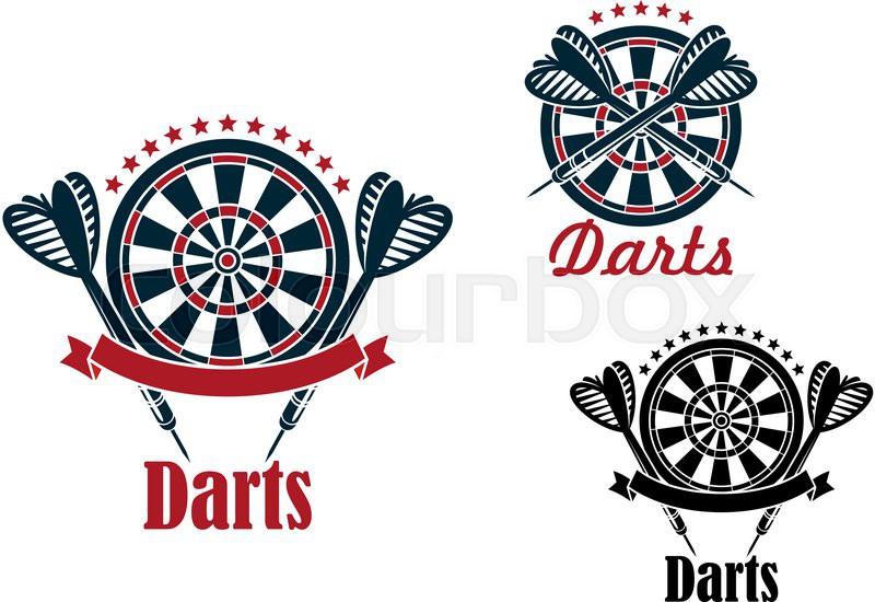 Darts Sport Game Emblems And Symbols Stock Vector Colourbox
