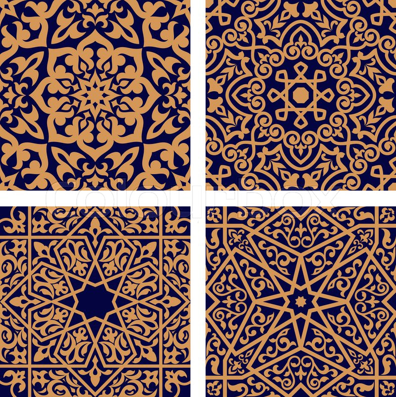 Geometric arabic seamless patterns with orange ornament and interlacing foliage elements on dark ...