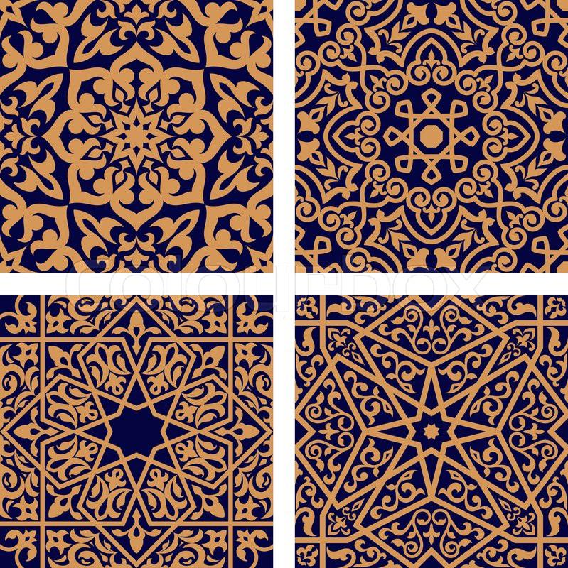 Geometric arabic seamless patterns with orange ornament