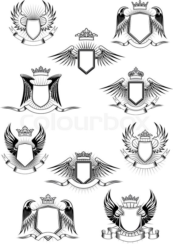 Heraldic Coat Of Arms Templates With Medieval Winged Shields