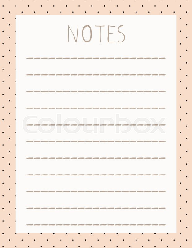 Cute Note Diary Blank Post It Stickers Memo Pad  Stock Vector
