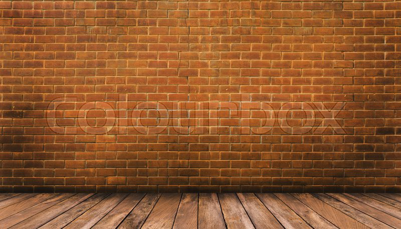 wood floor and red brick wall background stock photo colourbox