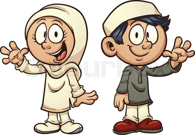 cartoon muslim kids vector clip art illustration with simple rh colourbox com muslim cute clipart muslim praying clipart