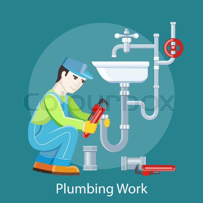 Plumbing work. Sanitary works. Plumber and wrench. Engineer ...