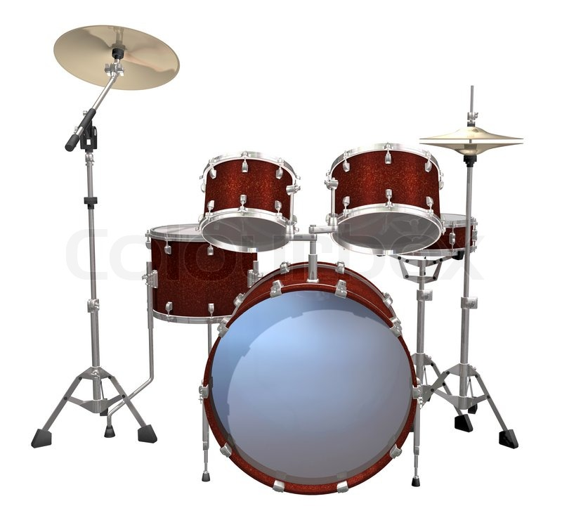 Drum Kit isolated on a white background | Stock Photo | Colourbox