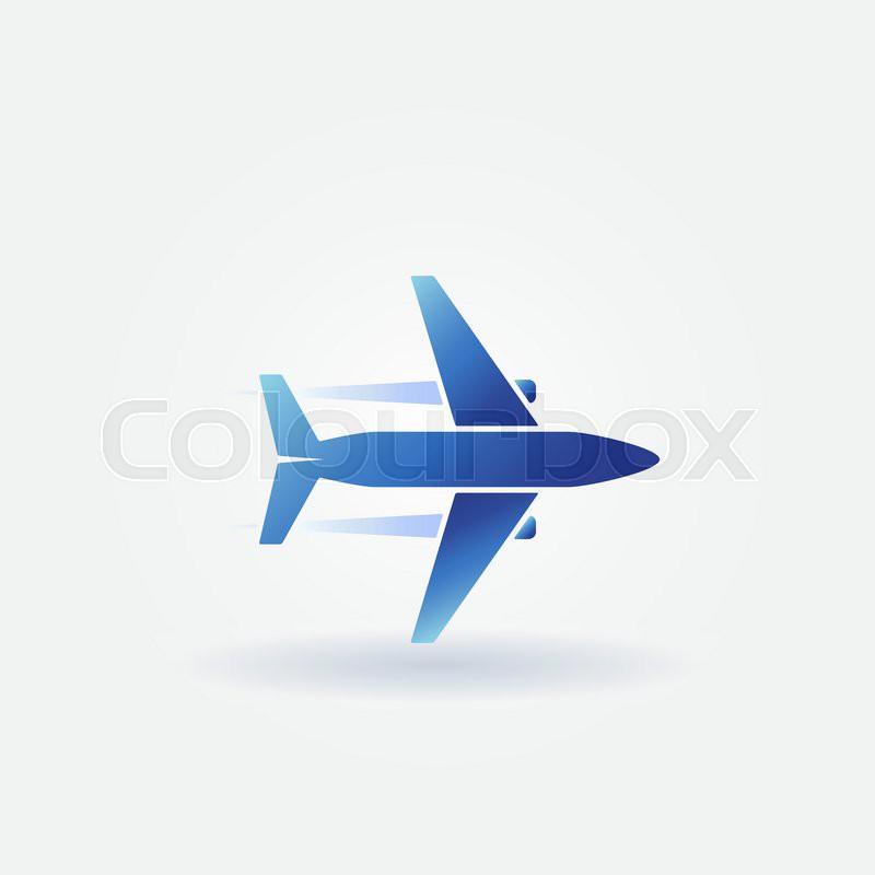 Airplane Flight Icon Or Plane Takeoff Logo Vector Blue Symbol
