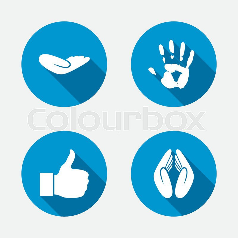 Hand icons. Like thumb up symbol. Insurance protection sign. Human helping donation hand. Prayer hands. Circle concept web buttons. Vector, vector