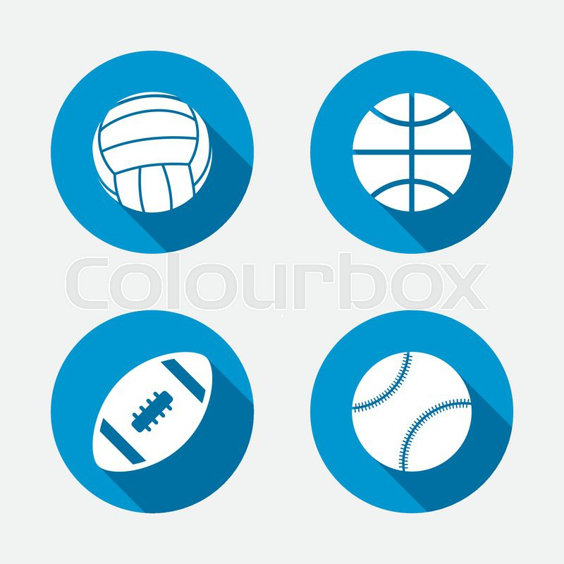 Sport balls icons. Volleyball, Basketball, Baseball and American football signs. Team sport games. Circle concept web buttons. Vector, vector