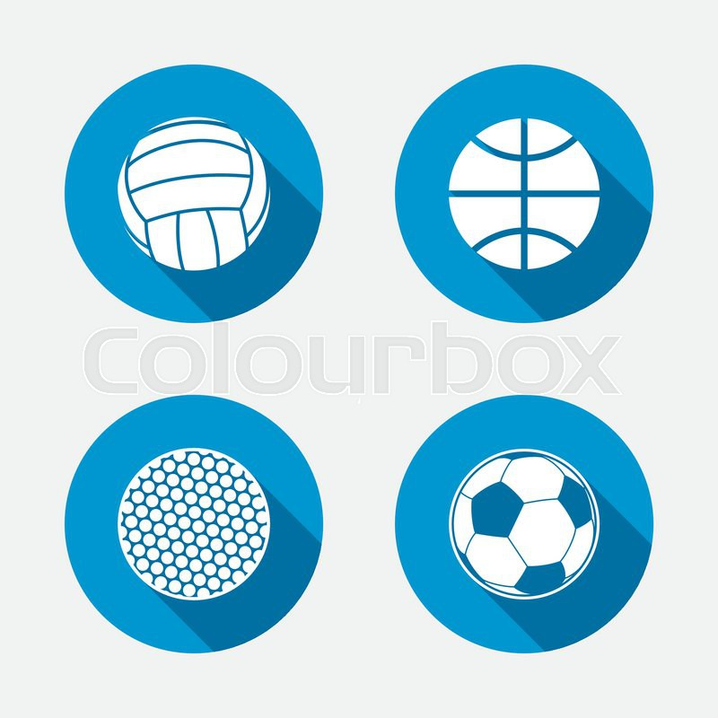 Sport balls icons. Volleyball, Basketball, Soccer and Golf signs. Team sport games. Circle concept web buttons. Vector, vector