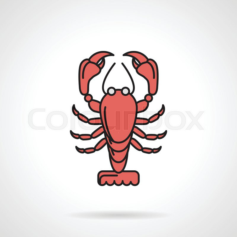 Single Flat Color Design Vector Icon For Red Lobster On White